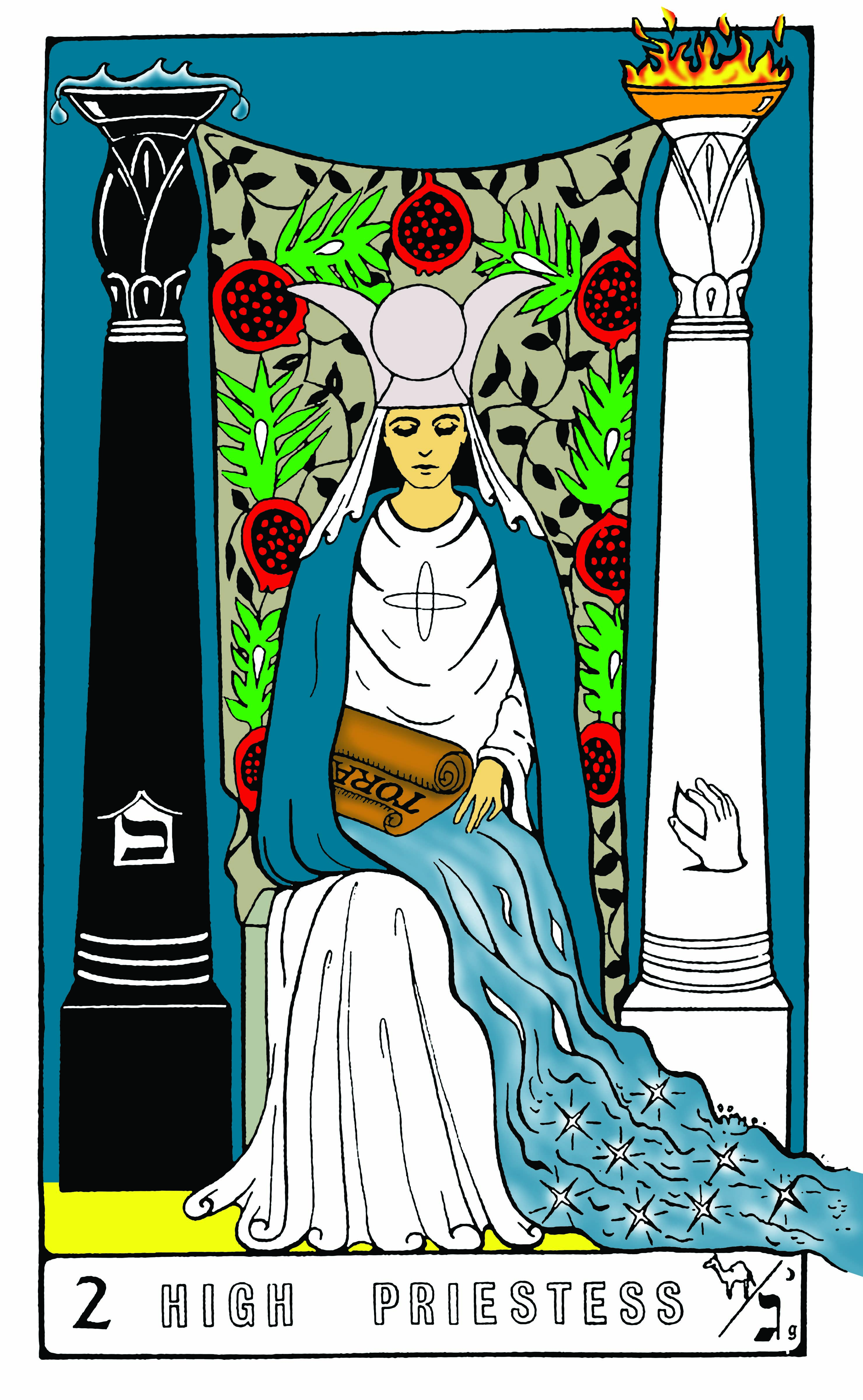 High Priestess Full Colorful Deck Major Stock Illustration: Key 2 – High Priestess